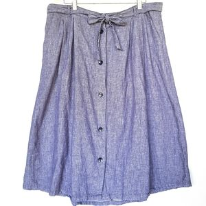 OLD NAVY chambray button front midi skirt XL